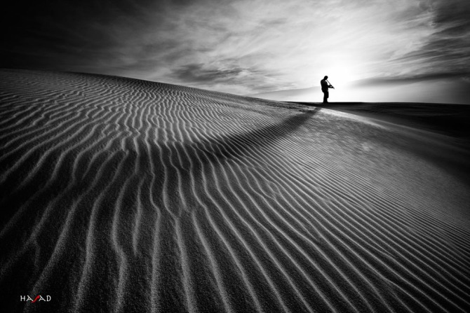 Black and White Photography Man in The Desert