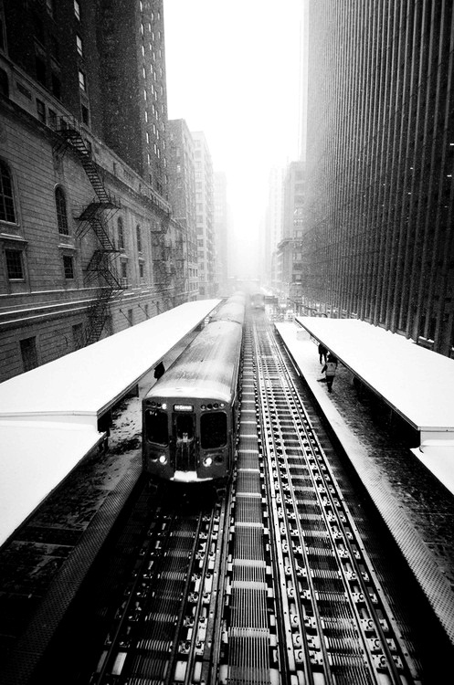 black and white train in ny