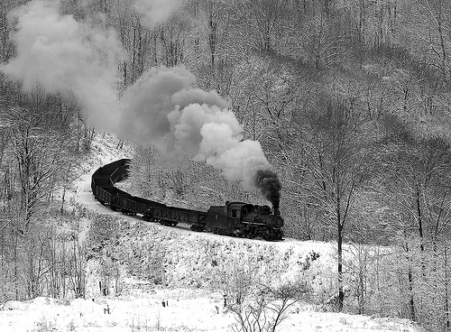 Black and White Train in The Snow