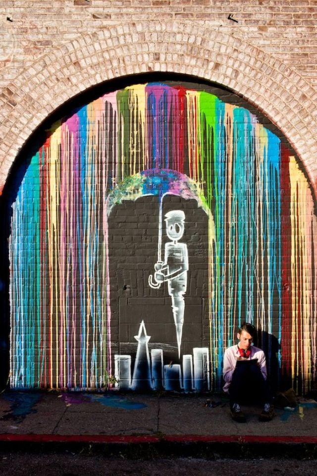 Raining Colours street art in London