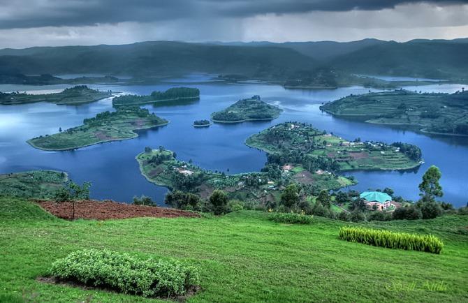 Bunyonyi lake in Uganda, Africa