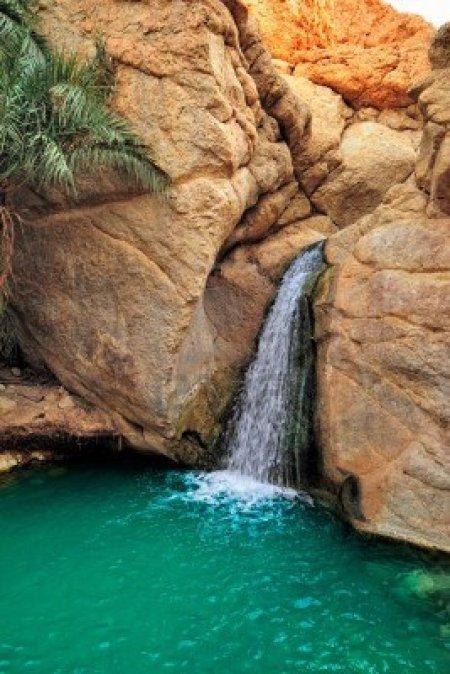 Waterfall in Chebika Oasis in Tunisia