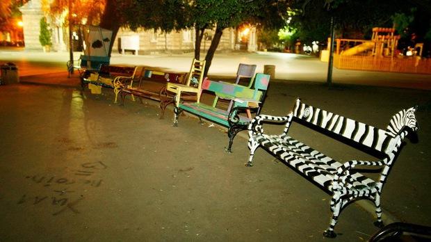 zebra bench in Bulgara-Sofia