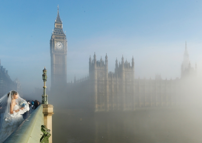 Bride in London's Fog