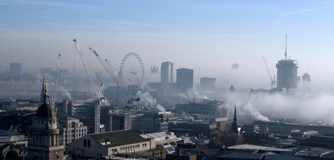 Central London With Fog