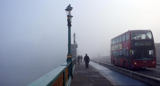 double-decker in London's fog