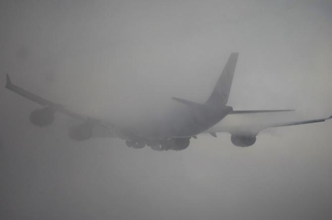 Virgin Airlines Airplane in Fog