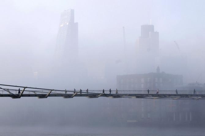 Foggy bridge in the centre of London