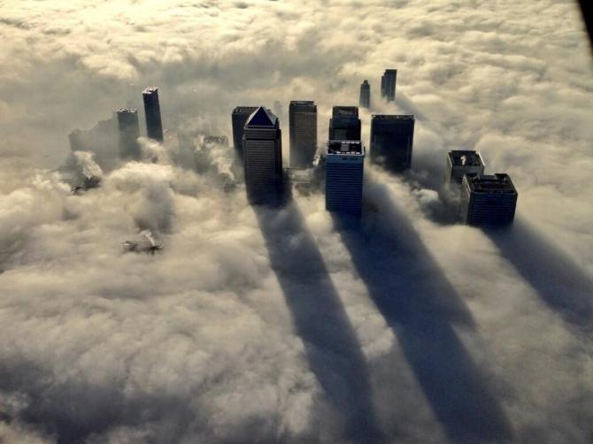 Skyscrapers in Fog in London