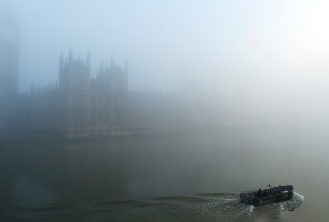 House of the Parliament in London's fog