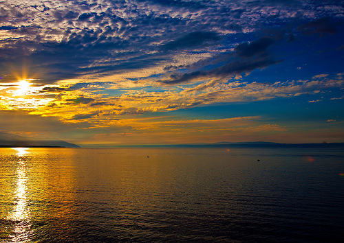 Sunset over the Russian lake Baikal