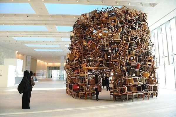 Tadashai Kawamata chair sculpture in Abu Dhabi