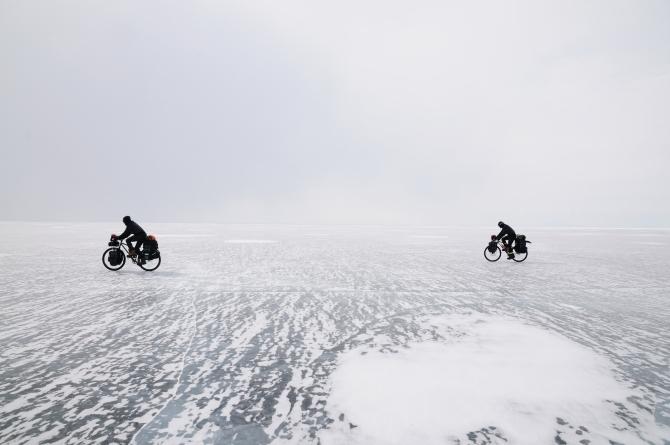 bicycle riders on top of lake Baikal