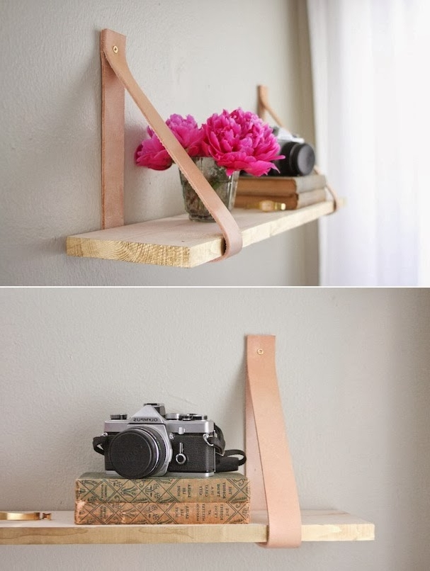 Leather and wood DIY shelf