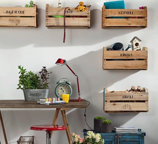 Wooden shelves from reused old wooden boxes