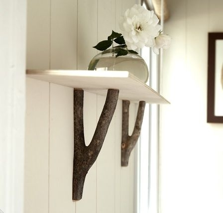 DIY shelf from branches