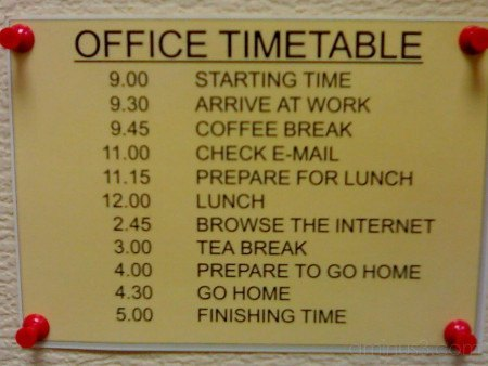 Funny Office Timetable