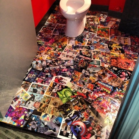 decoupage comics book flooring