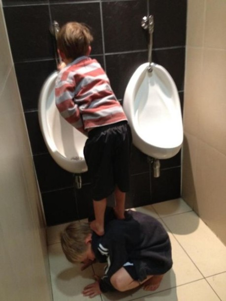 two friends in the toilet