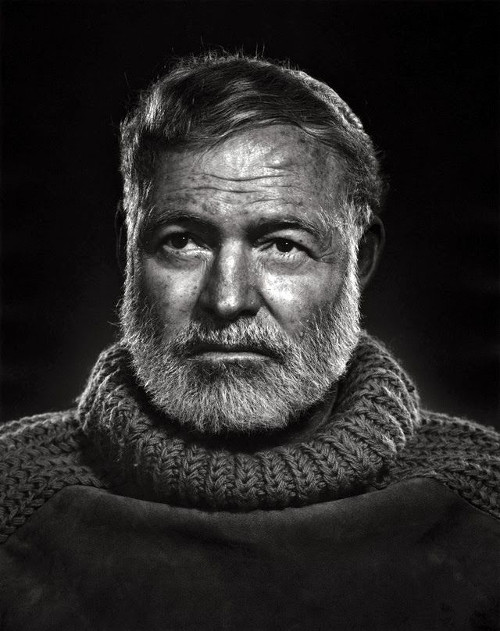 Black white portrait of ernest hemingway