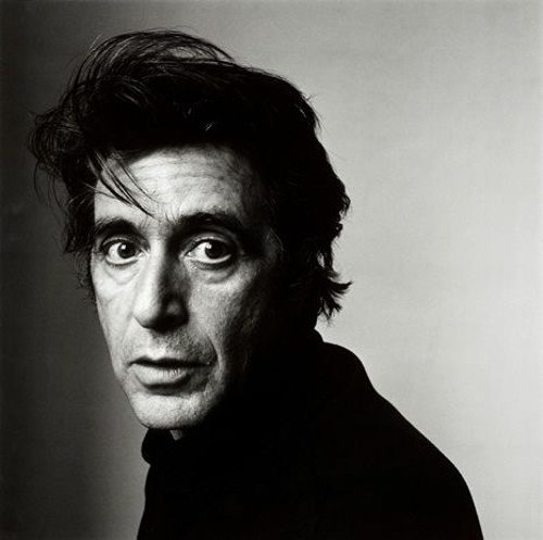 black and white portrait of al pacino