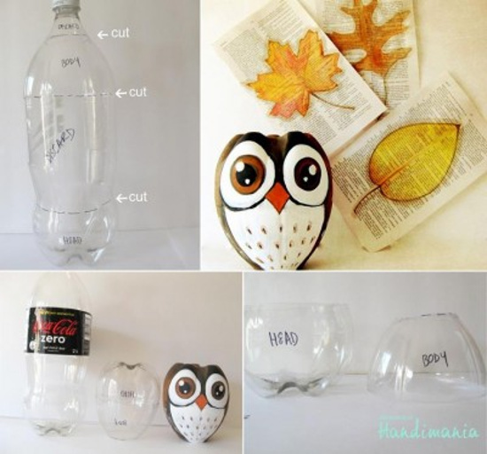 diy owl from plastic