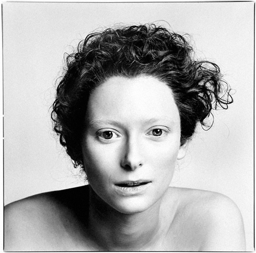 Tilda Swinton black and white portrait